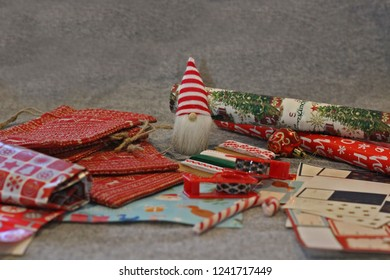 Front view of Christmas wrapping and goodies