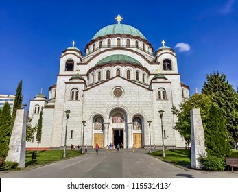 "Front view of the Church of Saint Sava (""Hram Svetog Save""), one of the largest Orthodox churches in the world, located in Belgrade, Serbia."