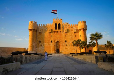Front view of The Citadel of Qaitbay (Qaitbay Fort), Is a 15th century defensive fortress located on the Mediterranean sea coast