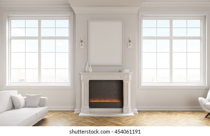 Front view of classic living room interior with wooden floor, white couch, windows with city view and a blank picture frame above fireplace. Mock up, 3D Rendering