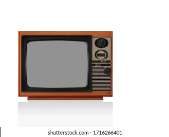 Front View Classic vintage retro old orange television on white background
