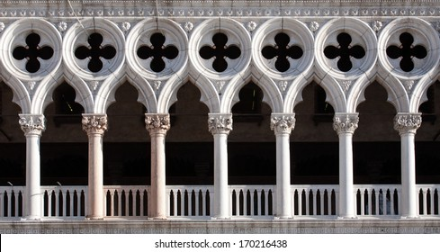 front view closeup of white Doge's Palace white tracery facade in Venice