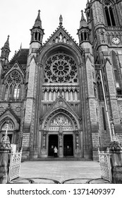 Front view of the Cobh Cathedral in black and white, Ireland