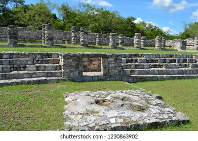 front view of colums at mayapan