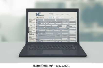 front view of a computer laptop with a tax form on screen, concept of online tax filing (3d render)