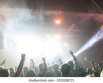 Front view of a concert stage shot in the middle of a music festival.