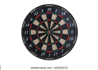 Front view of an dart board on white background