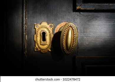 front view detail of vintage antique golden door know with metallic carvings and keyhole on dark background natural lightning