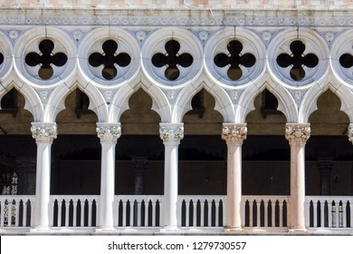 Front view of Doge's Palace facade in Venice, Italy,