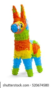 Front View of Donkey Pinata Isolated on White Background.