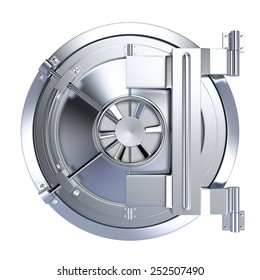 front view of the door of a bank vault on white background (3d render)