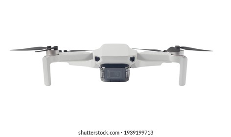 Front view of drone with camera isolated on white background