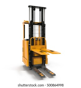 Front view of electric powered forklift isolated on white. 3D illustration