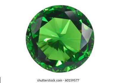esmeralda vista frontal aislada en blanco