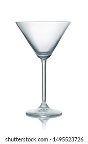 Front view of empty classic martini glass isolated on white