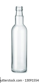 Front view of empty glass bottle isolated on white
