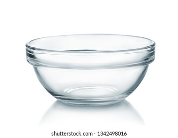 Front view of empty glass bowl isolated on white