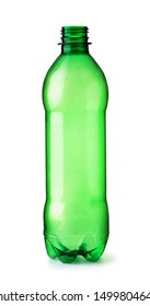Front view of empty PET plastic green bottle isolated on white