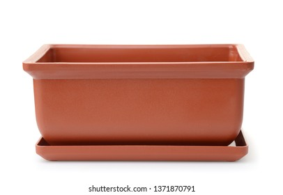 Front view of empty rectangular plastic flower pot isolated on white
