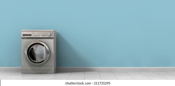 A front view of an empty regular brushed metal washing machine in an empty room with a shiny tiled floor and a baby blue wall