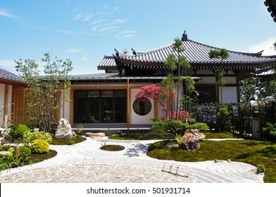 Front View Exterior Zen Japanese Garden Buildings Landmarks Stock Image 501931714,Low Maintenance Garden Design For Small Gardens