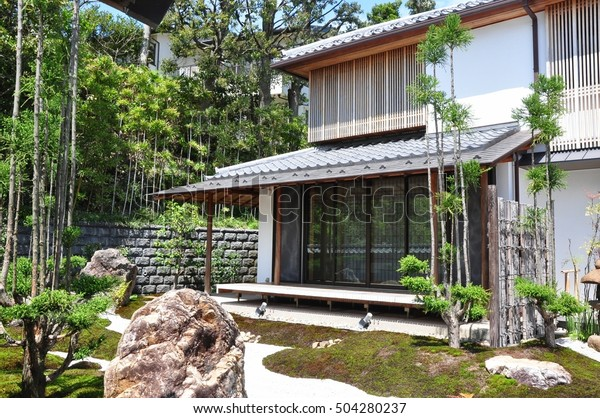 Front View Exterior Zen Japanese Garden Stock Photo Edit Now