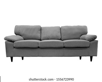 Front view of a fabric modern grey sofa isolated on a white background.