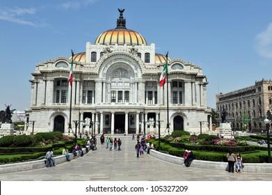 Front view of the Fine Arts Palace - Palacio de Bellas Artes cultural center in Mexico City, Mexico.