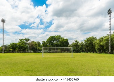 Front view of football goals.