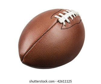 front view of a football on white background