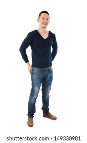 Front view full body Asian man in casual standing isolated on white background