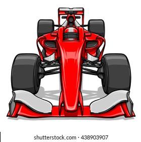front view funny fast cartoon formula race car illustration art