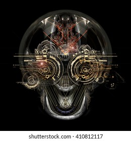 Front view of a futuristic cyborg face, 3D illustration