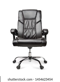 Front view of Genuine Leather office chair for Executive Officer, isolated on white background with clipping path.