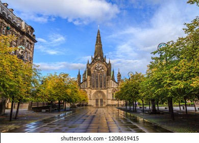 The front view of Glasgow Cathedral, Scotland