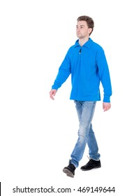 front view of going  handsome man. walking young guy . Rear view people collection.  backside view of person.  Isolated over white background. Curly boy in the blue jacket proudly moving forward.