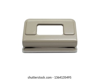 front view of gray paper hole puncher of office stationery isolated on white background