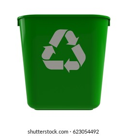 Front view of green recycling bin on a white background, 3D rendering