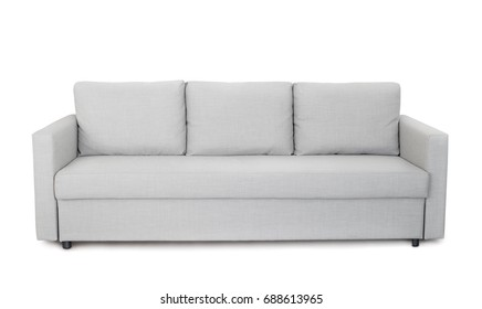 Front view of grey sofa isolated on white