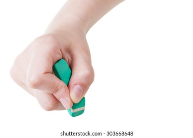 front view of hand with green rubber eraser isolated on white background
