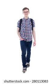 front view of handsome teenage boy with backpack walking isolated on white background