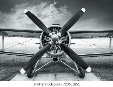 front view of an historic biplane