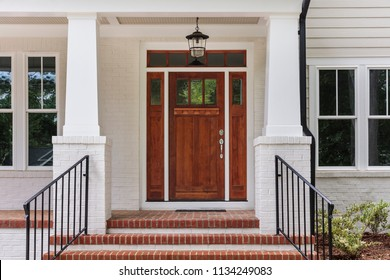 Front view of a front house, brown front door