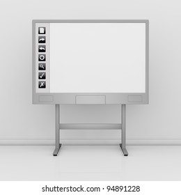 front view of an interactive board with a white display and some icons on the left (3d render)