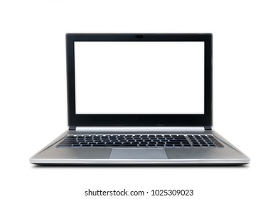 front view of isolated grey and black laptop with no sign keyboard