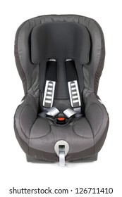 Front view of an isolated safety car seat.