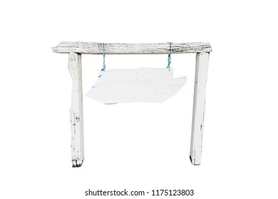 Front view, isolated white wooden board with pole