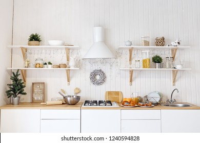 front view of a kitchen table in bright kitchen.