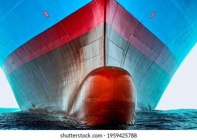 Front view of the large cargo ship bulbous bow, she is freshly painted.   - Shutterstock ID 1959425788