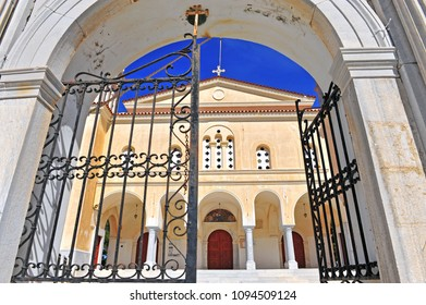 Front view of Lefkes cathedral, Paros, Greece